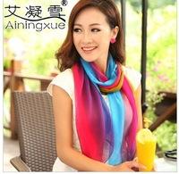 2014 Fashion multicolor georgette spring and autumn long silk scarf women's chiffon scarf summer silk shawl