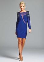 DHL free shipping 2014 blue Beaded Sequined Mesh Perspective Bandage Dress bodycon HL  bandage dress celebrity dresses