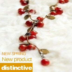 2014 New Fashion Hot-Selling Wholesales Star Necklace - Beautiful Red cherries Necklace N28(China (Mainland))