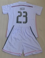 2014 2015 ISCO 23 RONALDO 7 BALE 11 real madrid home white boy kids child high quality soccer jersey kits + can custom names
