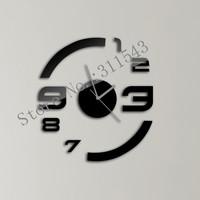 20X30cm 9PCS/Set home decor black wall clock mirror sticker DIY clock JC03