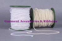 Free shipping 120meters/lot 3MM Colorless Ivory White Pearl Bead String ABS Plastic Beads Fixed String Chain Table Cakes Deco.