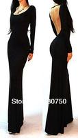 2014 European and American Fashion Sexy Halter Dress Slim Elegant Long-Sleeved Dress Long Section Evening Dresses
