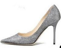 Free Shipping 2014 Women's New 5&8.5&10.5 CM high heels color sequined leather brand rhinestone pumps size 34-39 gold silver