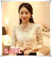 Spring 2014 Lace Crochet Embroidery Plus Size Women Base Shirts Beading Elegant Flora Ladies Blouses Vintage Retro OL  Blouses