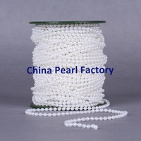 Free shipping 4mm White pearl string on spools for wedding favors crafts 75m/roll (82Yards) Faux pearl string decoration string