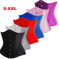 S-XXL satin underbust black corset bustier top women sexy lingerie corselet