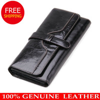 NEW DESIGN Fashion Genuine Leather Wallet Women Long Style Cowhide Purse Wholesale and Retail Leather bag Free Shipping 5 color