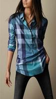 2014 spring women's pullover long-sleeve shirt 100% cotton plaid shirt blue high waist slim comfortable women