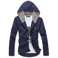2014 autumn color block slim long-sleeve male jacket fashion thin outerwear