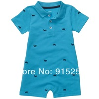 2014 Summer carters6~24M  baby boy romper short-sleeve turn-down collar polo romper 100% cotton