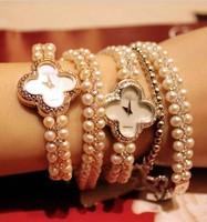 Yq b75 butterflies crystal austria simulated-pearl lady bracelet watch rhinestone fashion watch
