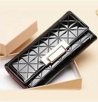2014 New Fashion Ladies Women's Wallet Black Plaid Leather Wallets Female Purse Clutch Purses Women Handbag Wallets For Women