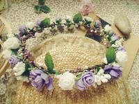 purple white rose garland bracelet set Honeymoon holiday Travel wreath bridesmaid bracelet photography props ornaments headdress