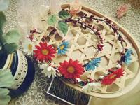 Free shipping Colorful sunflower garland bridal flower headpiece wedding circlet bride wrist flower wreath hair accessory photo