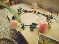 Free shipping pink rose flower crown garland floral crown hair accessory bridal floral crown flower girl hair wreath headpiece
