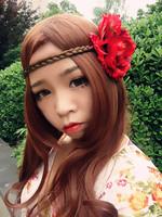 Bohemia elegant deep red big peony flower with pigtail braid hair plait hair band hair rope  beach full dress accessories