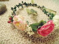 Japanese mori girl artificial flower floral wreath garland with green leaf vine cane plant bride seaside headdress headwear