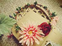 Free shipping Gerbera artificial garland handmade African daisy simulation flower wreath honeymoon bride photo props