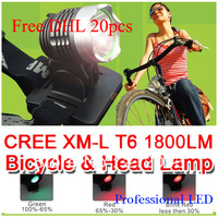 Wholesale 20pcs Bicycle HeadLight Cree XML T61800 Lumens Bike Front Light LED HeadLamp With 8.4v 6400mAh Battery + Charger