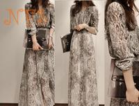 Gentlewomen fashion serpentine pattern long  design leopard print women's chiffon long-sleeve dress full dress