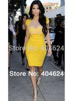 2014 New Fashion Yellow Women Short Cap Sleeve Celebrity Solid Tunic Business Party Evening Sheath Midi Bodycon Club Sexy Dress!