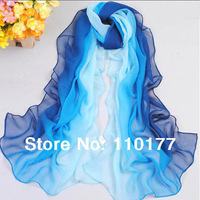 Free shipping sale Hot Style New Women's Fashion Tie-dye Patchwork Gradual colors chiffon georgette scarf/ shawl SC002