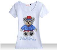 Hot 2014 New fashion women t-shirt 100% cotton Tshirt Beading diamond cute bear high quality 5 colors GT3