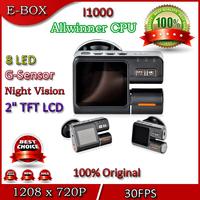 "Free Shipping Car DVR Dual Camera I1000 HD 720P 30FPS +Rear View Camera Night Vision 2.0""LCD G-Sensor H.264 DVR Recorder"