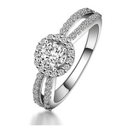 Sterling Silver Braided Best Quality Synthetic Diamond Bridal Ring 3/4CT (MATE R078)