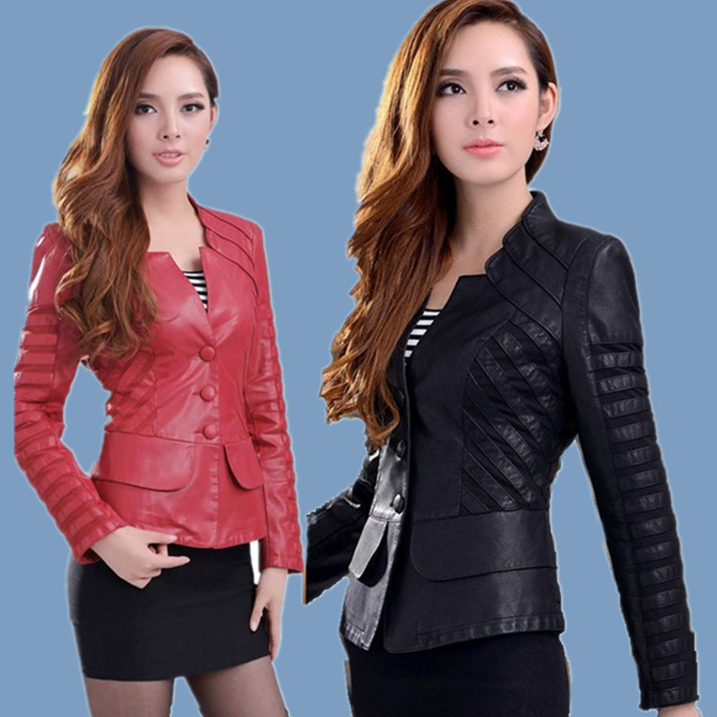 2014 new women's Black & Red Spliced PU Leather Jacket /High Quality female Faux leather Motorcycle Biker coat BA043(China (Mainland))