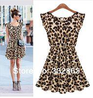 Free shipping 2014 Spring European and American fashion new Leopard Dress Casual Chiffon Dress