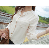 Fashion Women Clothing Cardigan Blouses 2014 Natural Color Stand Collar Long Sleeve Button Blouse Shirt,Green, Apricot, S, M, L