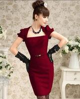 2014 spring claretred silver yarn tight ladies wine  short-sleeve formal dress
