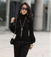 2014 New Autumn Casual Women Thin Slim Fit Tops Tees Turtleneck Lantern Sleeve T Shirt, 5 Color, Size Free