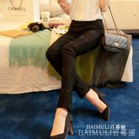 New 2014 Fashion Slim Lace Black Leggings Summer Spring Plus Size Pencil Pants Capris High Waist Female Trousers Casual Slacks