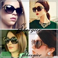 Sheegior 2014 New Vintage Glam Butterfly Sunglasses Metal Roses TOP Quality Women Glasses Oversized Free Shipping