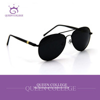 Queen College Wholesal Brand Retro frame aviator sunglasses men glasses sun box polarized lens sunglass 4colors 20pcs/lot QC0029