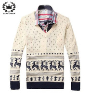 2014 Autumn Deer Knitted Men Sweater V Neck Long Sleeve Casual Pullover For Man White Dark Blue XXL 11.11 ON Sale