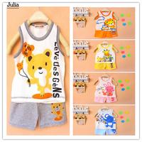 [Julia] 2014 New Spring Summer Baby Children Cotton Clothing Set Boy Girls Vest + Pants 2 in 1 Kid Pajama Set Children Outfit