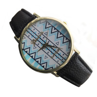 Unisex black and white Geneva leather strap men sport  Aztec watches 2014 new free shipping