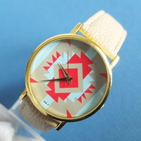 new 2014 women dress geneva leather strap  ladies watches wholesale 5 colors