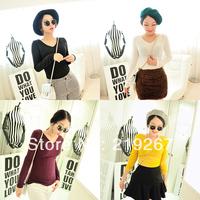 Crystal spring women's slim V-neck knitted long-sleeve shirt tb169 basic sweater