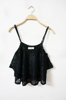 New 2014 Women High Street Lace Camisole Ruffles Vest Tops Tees For Girls Crop Tops Fashion Clothing B188