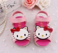2014 summer kids sandals cartoon KT cat girls toddler shoes soft Hello Kitty children sandals outsole 14 - 18