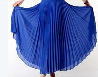 Bohemian Pleated maxi skirts womens 2014 summer ladies temperament wild solid color high waist chiffon long skirt  black