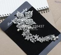2014 new arrival wedding hair veils diamond floral rosette embroidery bride applique flower patches 8.5*20cm  T23