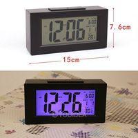 HOT SALE!!! Black& White Digital LED Snooze Alarm Date Desk Atmos Clock LCD Screen Display Backlight Sensor  80323-80324