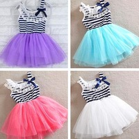 2014 Summer dress Retail promotion hot selling baby girl sleeveless striped dress Mint Green white red color for kids