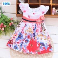 1 piece retail 2015 summer kids printed dresses cotton baby girls dress flower princess children clothes FG50